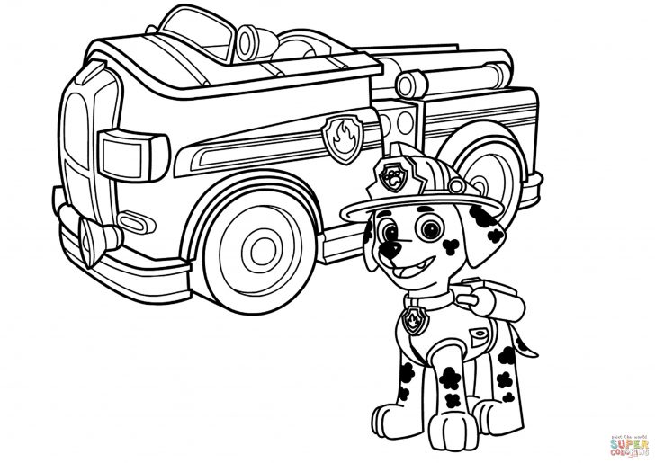 Truck Coloring Pages Paw Patrol Marshall With Fire Truck Coloring Page Free Printable