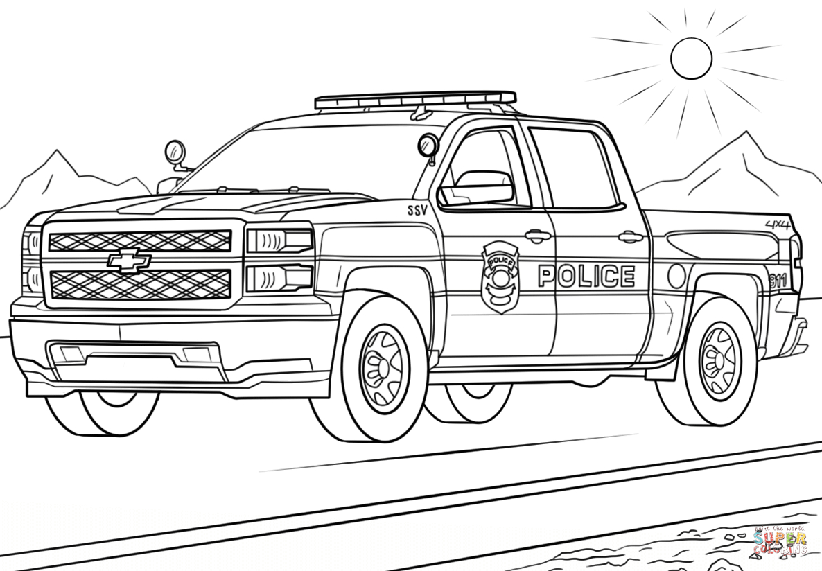 Truck Coloring Pages Police Truck Coloring Page Free Printable Coloring Pages