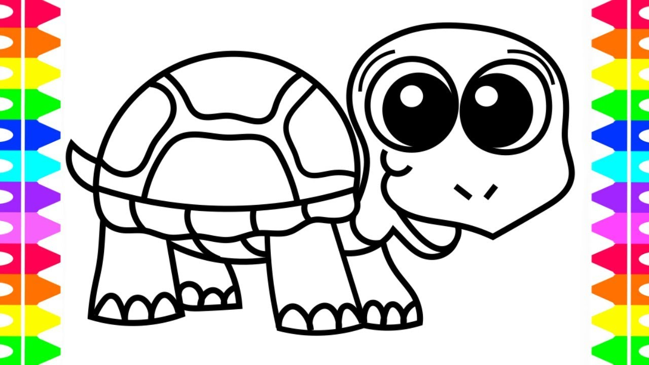 Turtle Coloring Pages How To Draw A Happy Ba Turtle Coloring Pages Art Colors For Kids