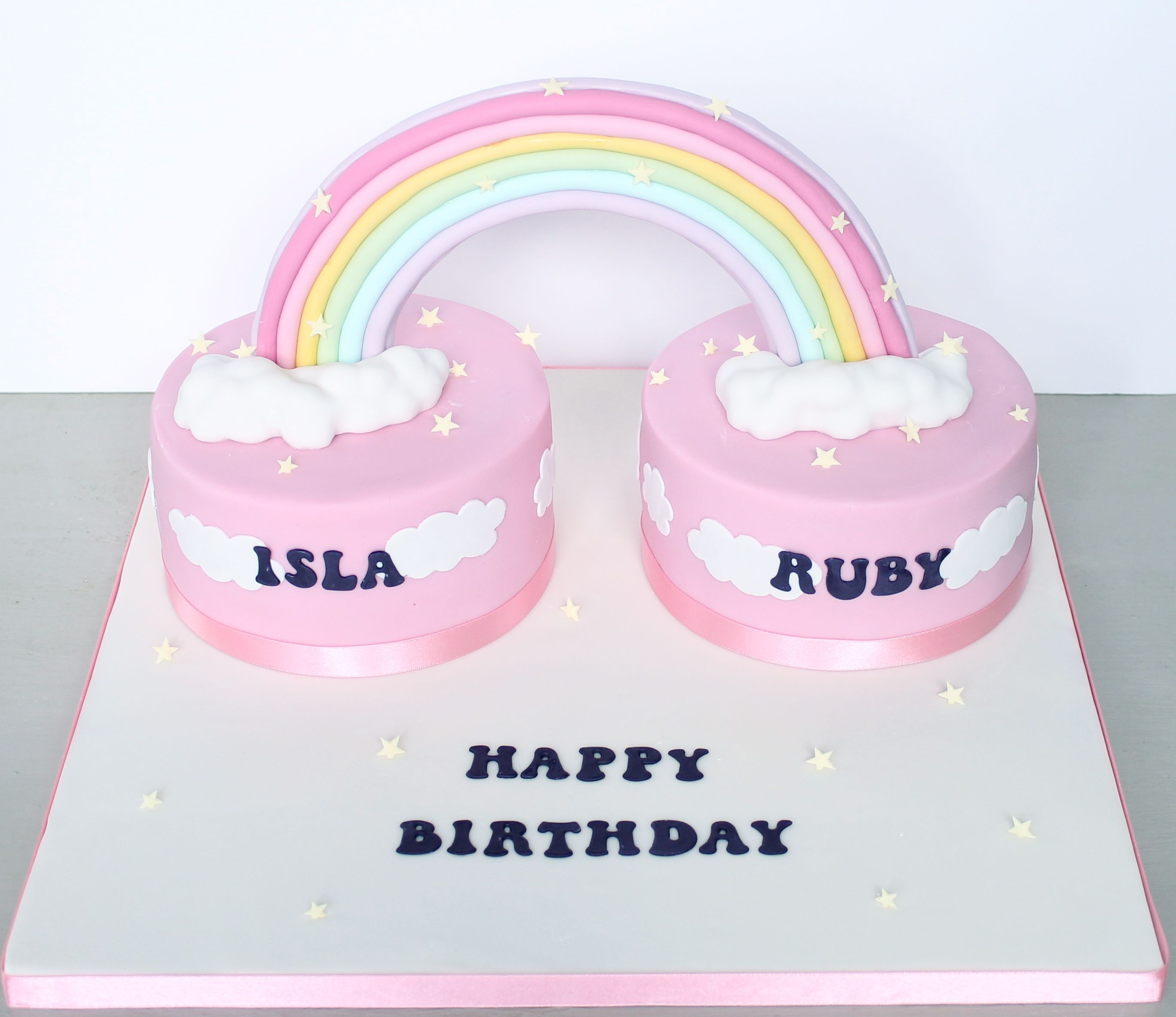 Twin Birthday Cakes Double Rainbow Cake Perfect For Twins Sweetie Darling Cakes
