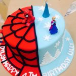 Twin Birthday Cakes Frozen And Spiderman Cake For My 4 Year Old Twins Cake Pinterest
