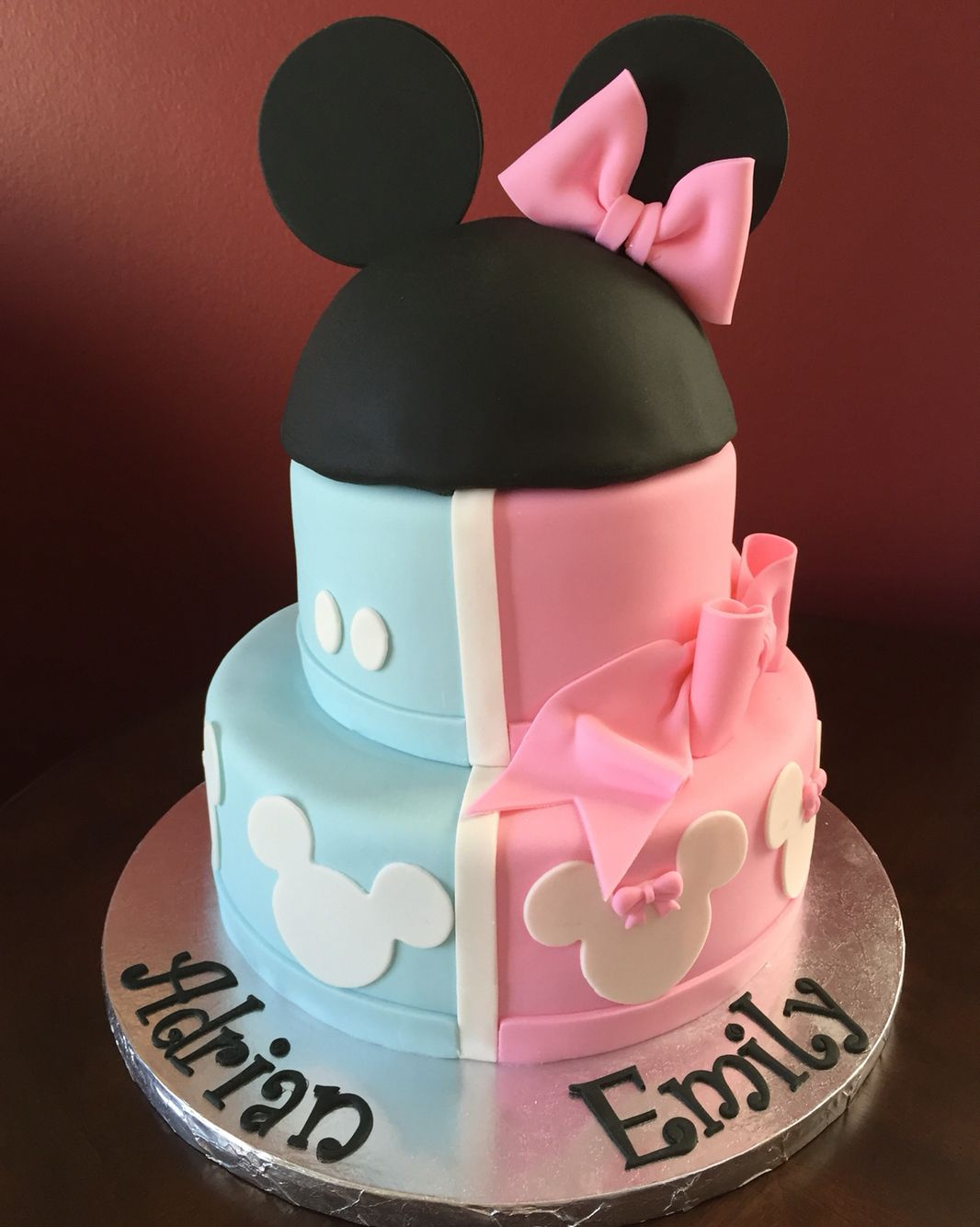Twin Birthday Cakes Mickey And Minnie Mouse Birthday Cake For Twins Birthday Cakes