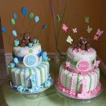 Twin Birthday Cakes Twin 1 Year Birthday Cakes Boy And Girl Bears Turtles And