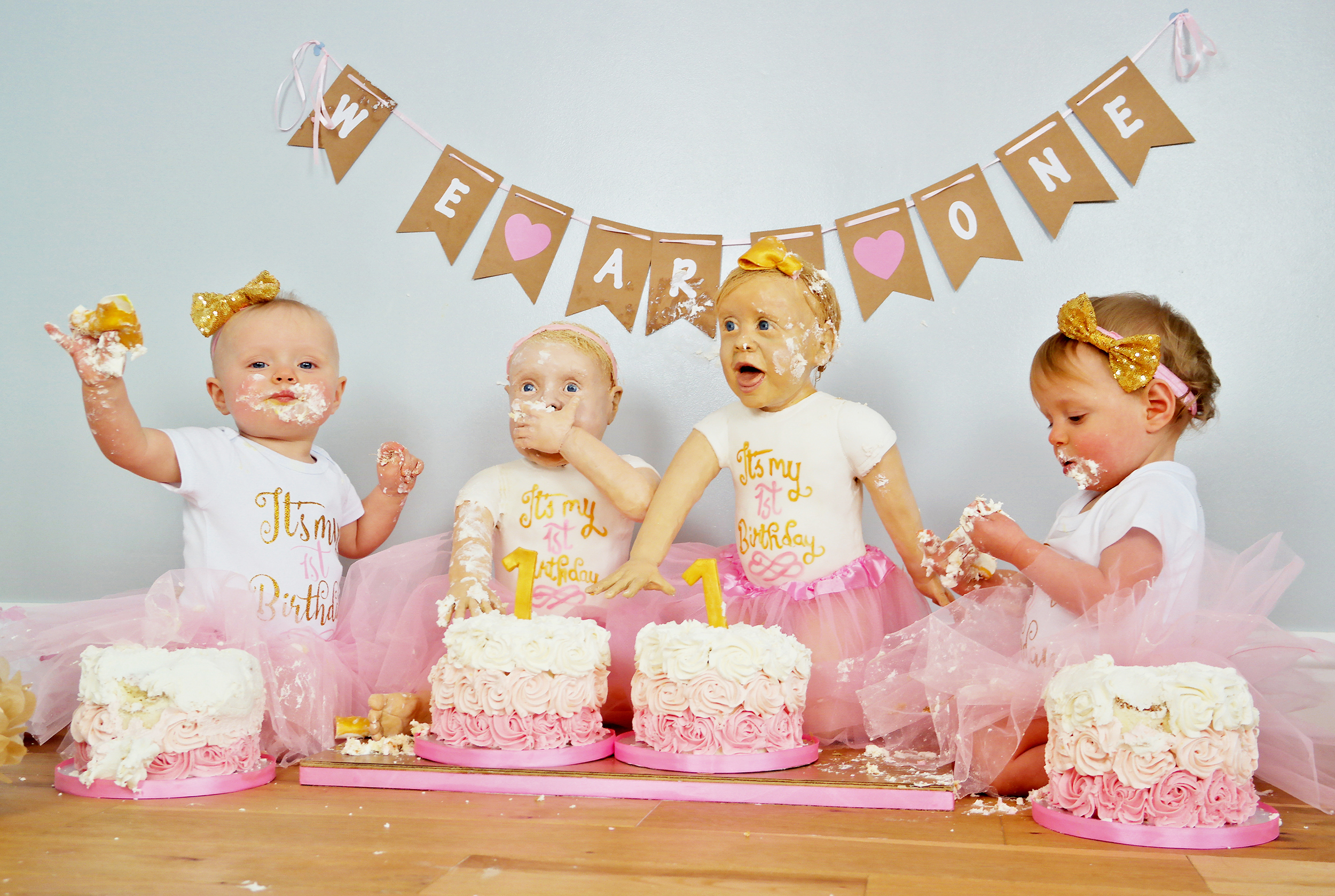Twin Birthday Cakes Twin Girls Look Exactly Like Their Life Size Birthday Cakes