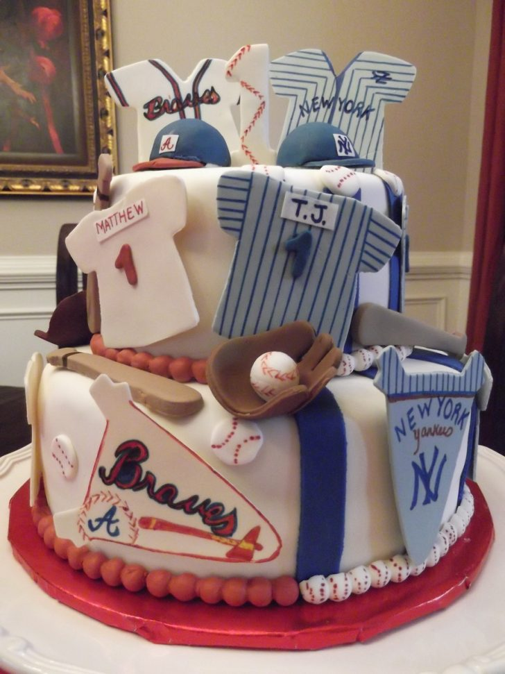 Twin Birthday Cakes Yankees Braves Birthday Cake For Twin Boys Cakecentral