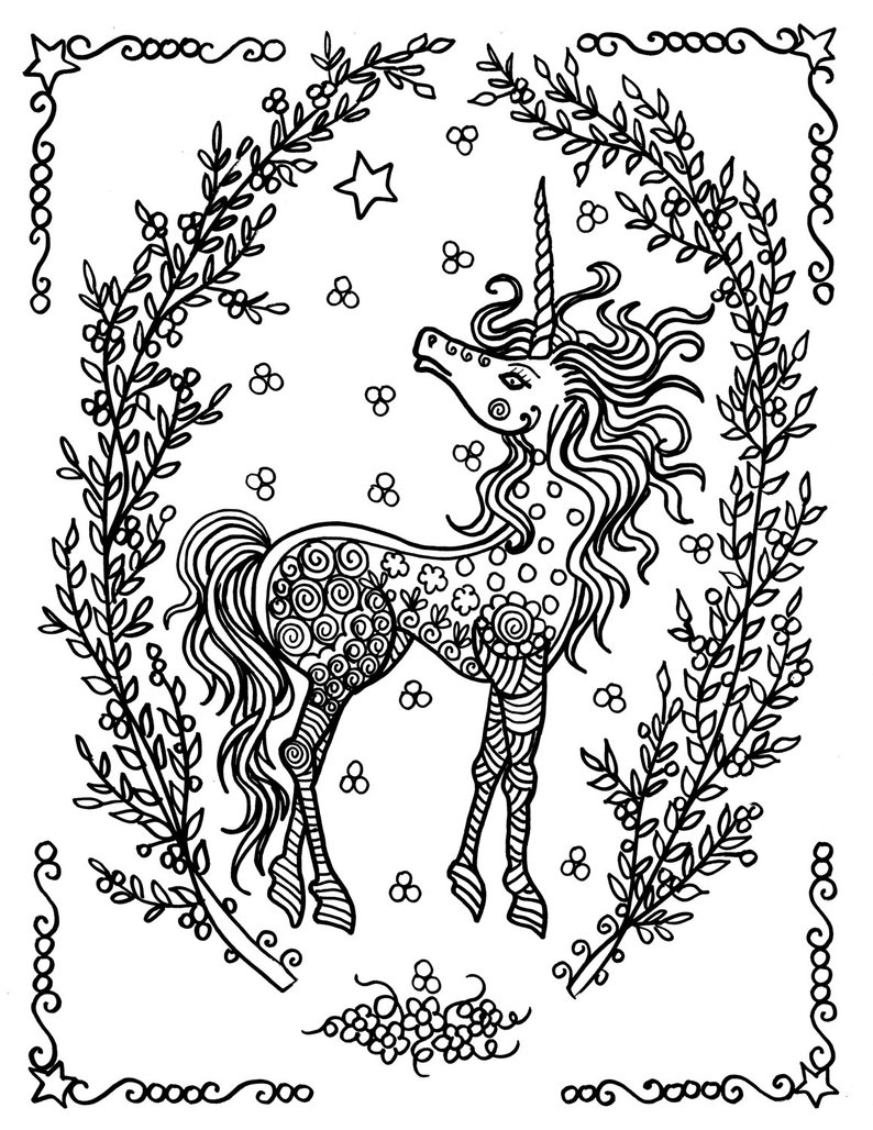Unicorn Coloring Pages For Adults Unicorn Coloring Pages Coloring Adults Instant Downloads Etsy