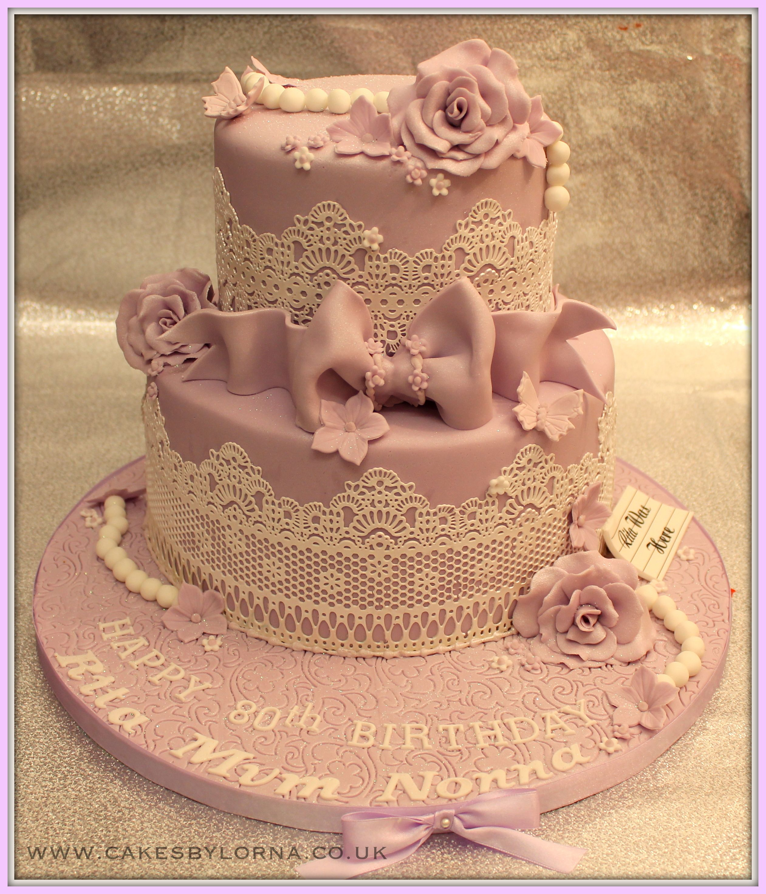 Vintage Birthday Cakes Ladies 80th Two Tier Vintage Inspired Lace Birthday Cake Lilac