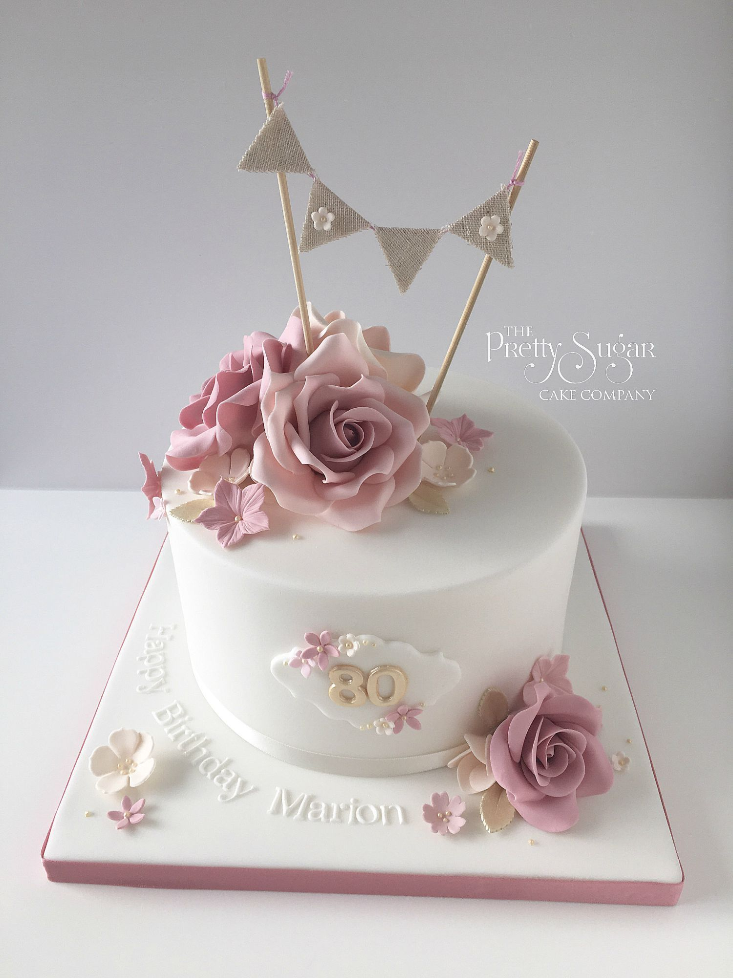 Vintage Birthday Cakes Vintage Style 80th Birthday Cake With Sugar Roses And Bunting Topper