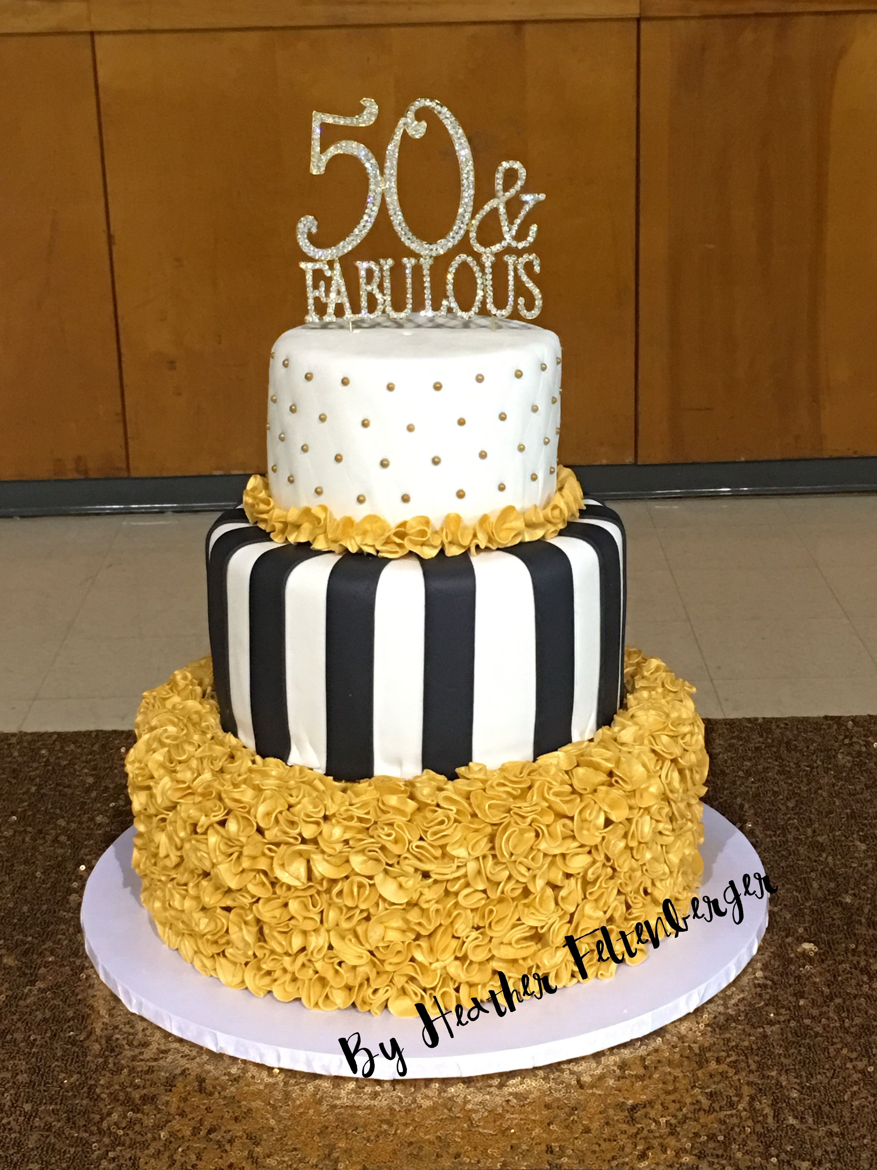 White And Gold Birthday Cake 3 Tier 50th Birthday Ruffle Cake Black White And Gold 50 And