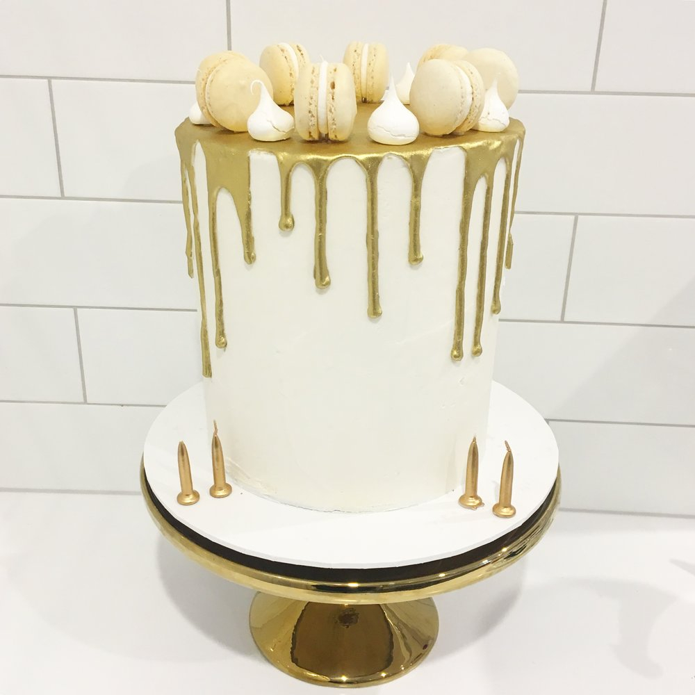 White And Gold Birthday Cake Birthday Celebration Cakes Melbourne Creme De La Cakes
