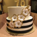 White And Gold Birthday Cake Black White And Gold Birthday Cake Fondant Flowers Edible Glitter
