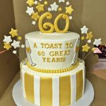 White And Gold Birthday Cake Cakes Mindy Gold And White 60th Birthday Cake 8 10