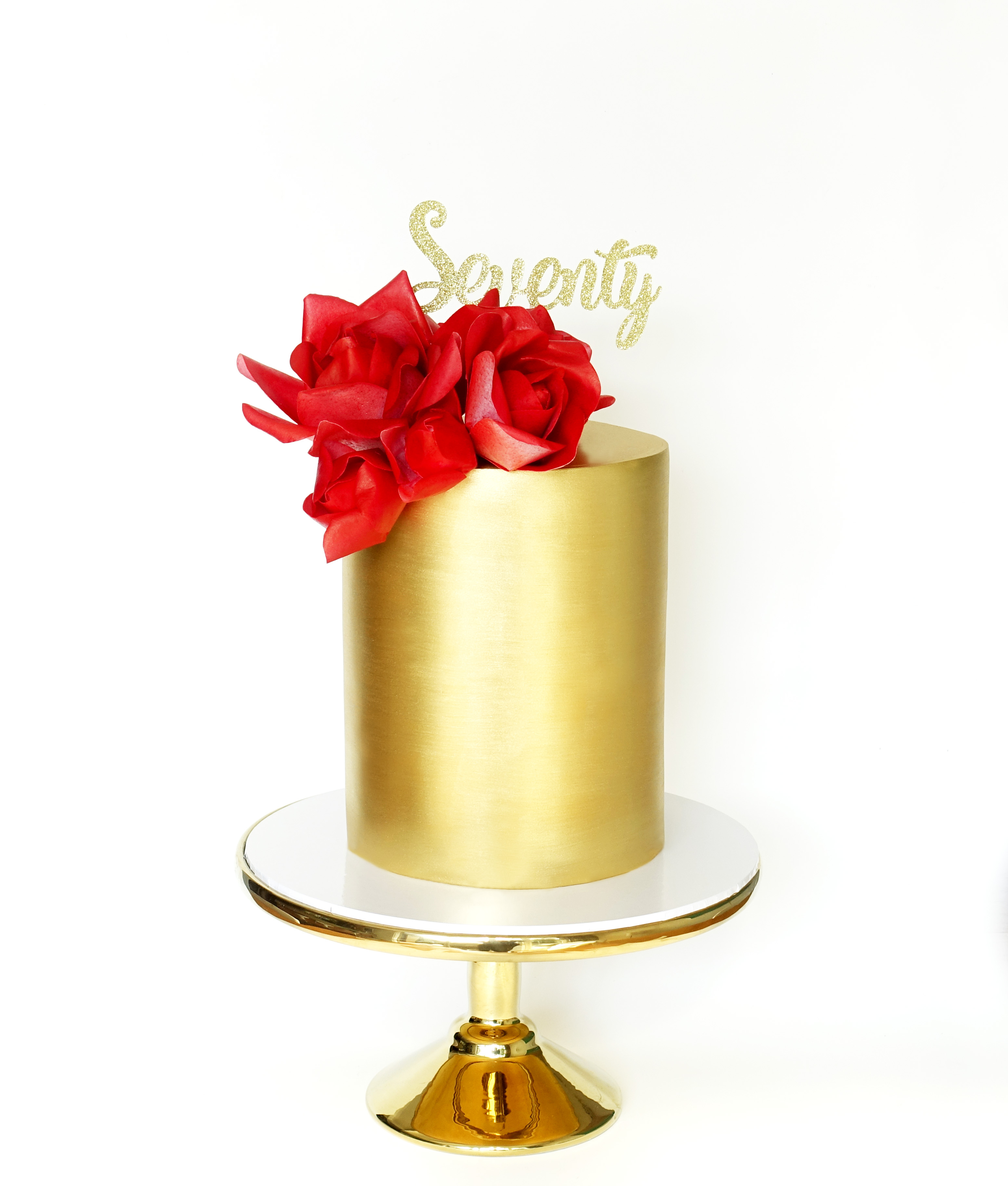 White And Gold Birthday Cake Gold Birthday Cake Modern Design Painted Cake Wafer Paper Flowers
