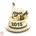 White And Gold Birthday Cake Gold White Graduation Cake
