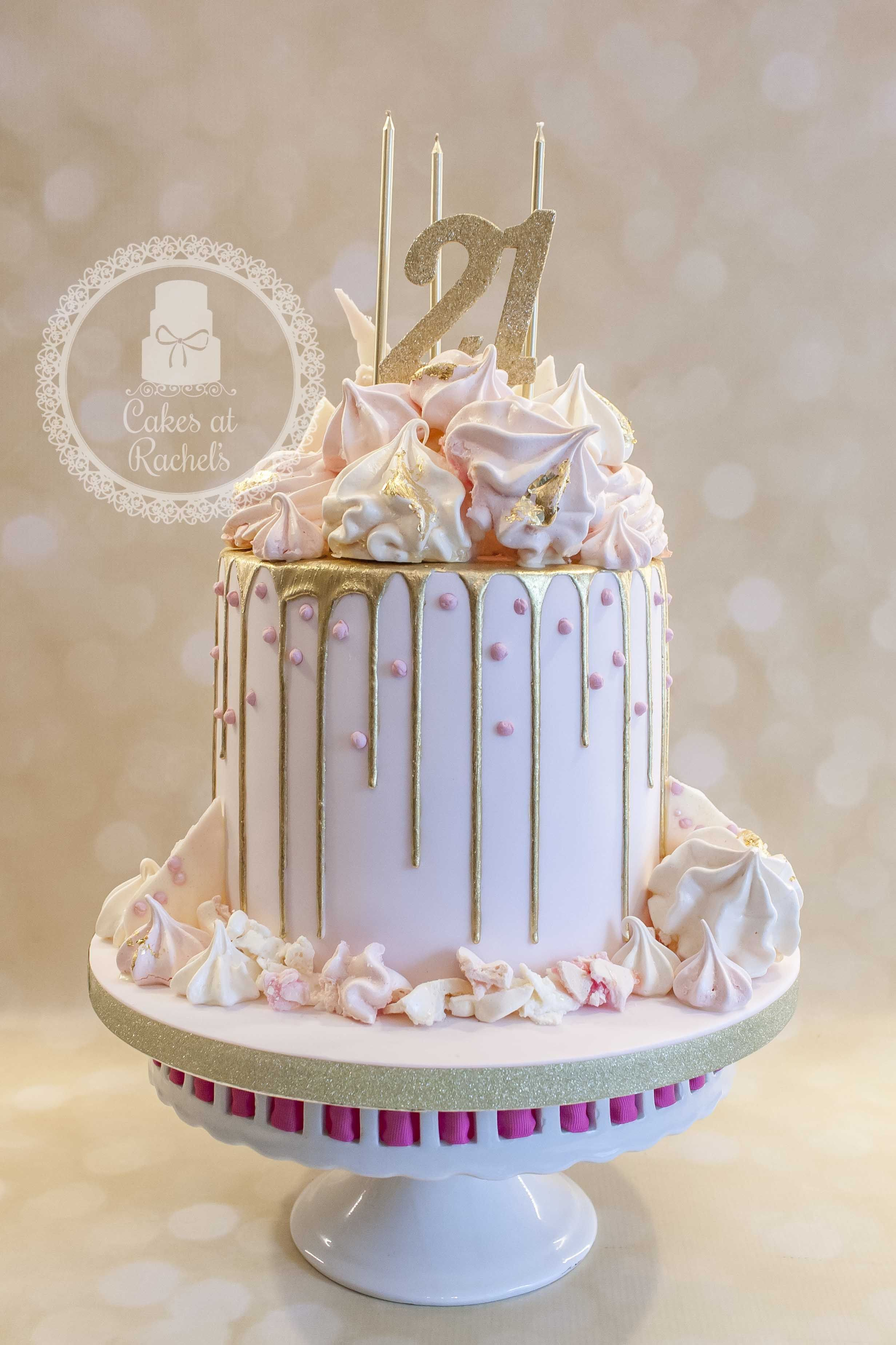 White And Gold Birthday Cake Pastel Pink And Gold Drip Cake For Francescas 21st Birthday Cake