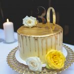 White And Gold Birthday Cake Yellow Gold 30th Birthday Partybeach Bay Cafevancouver Bc