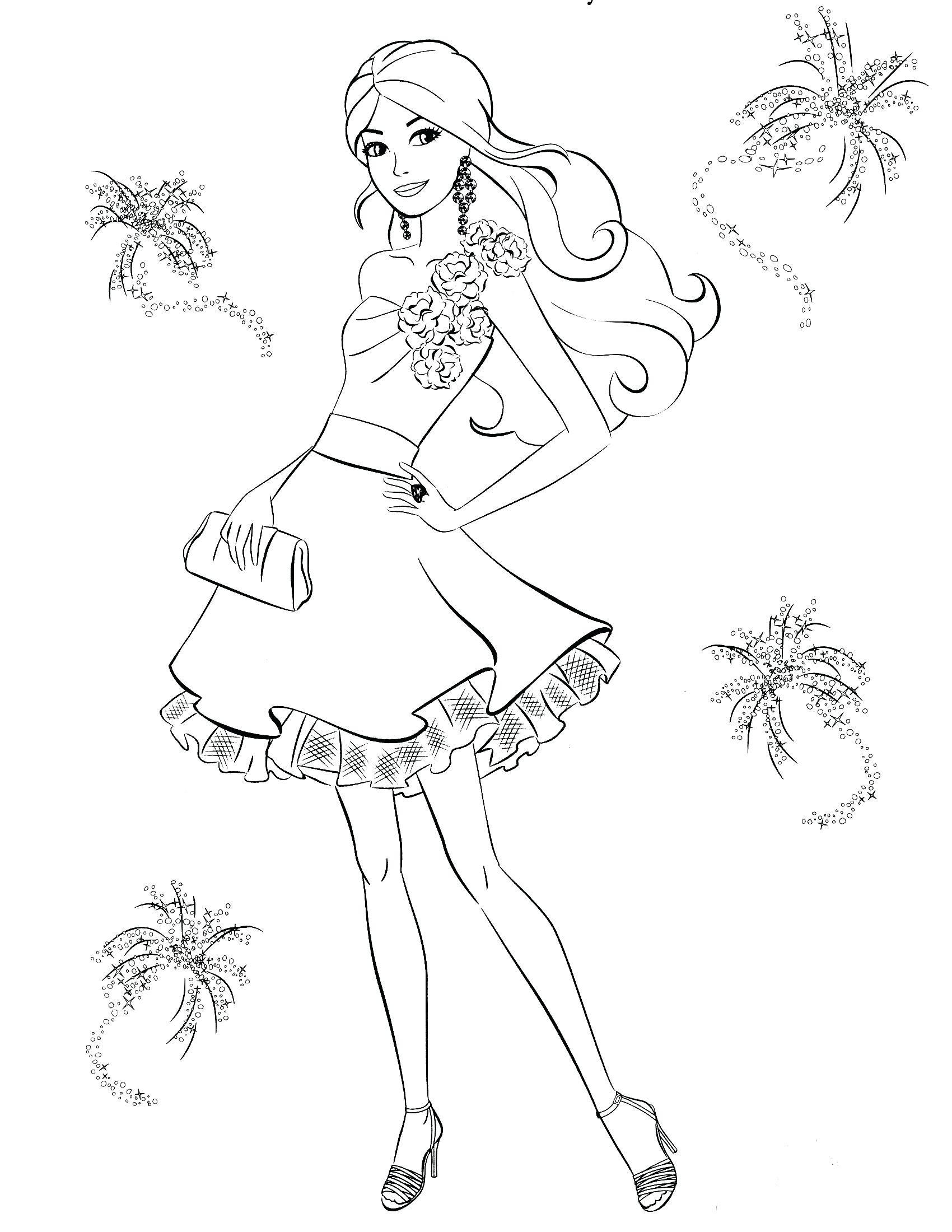 Barbie Coloring Pages Simple Barbie