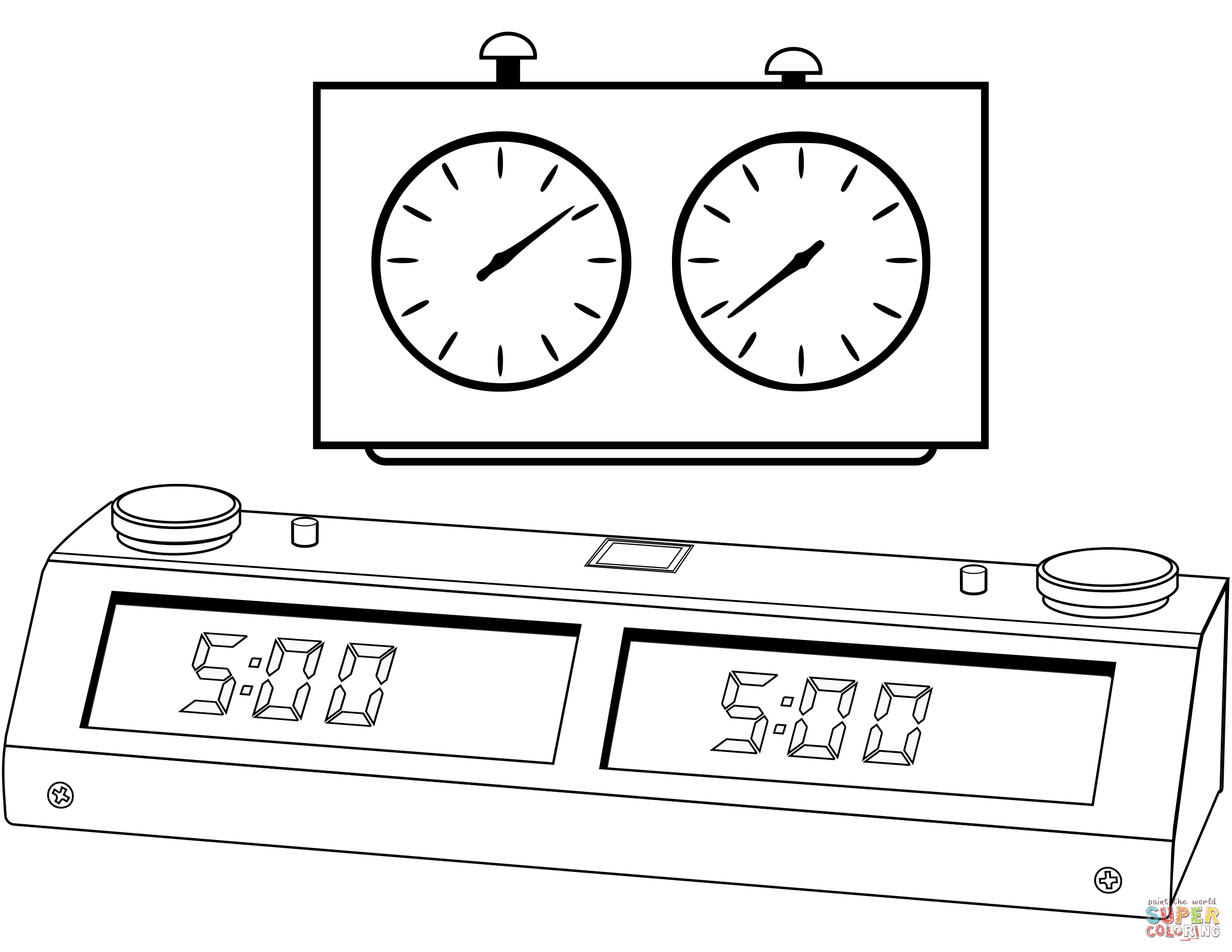 Clock Coloring Page Chess Clock