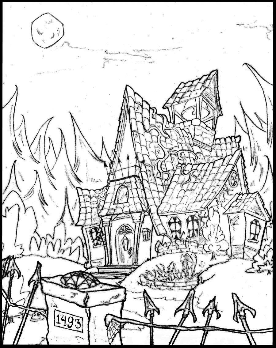 Haunted House Coloring Pages Coloring
