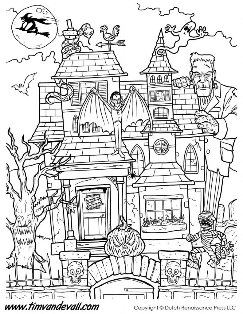 Haunted House Coloring Pages Haunted