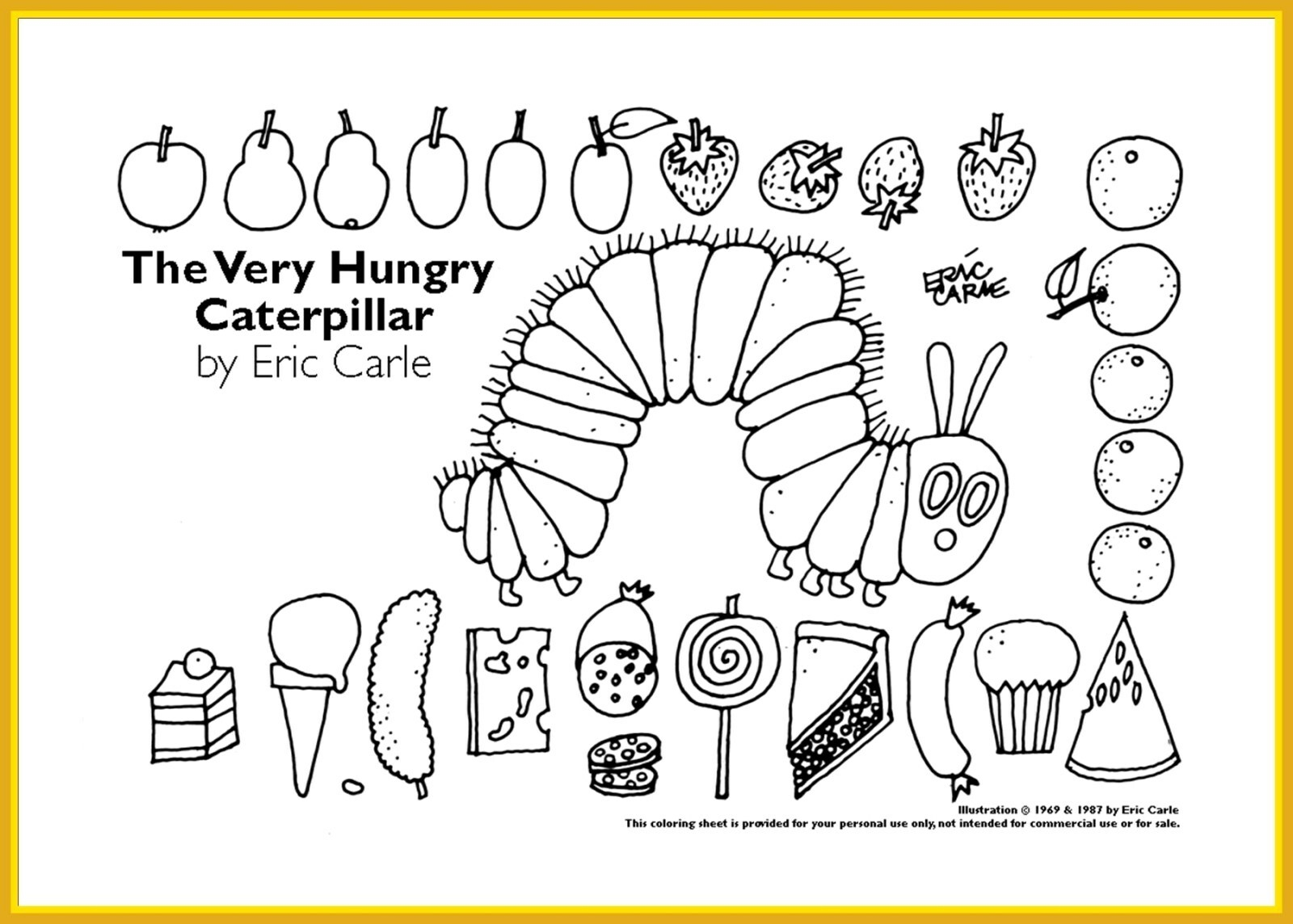 Hungry Caterpillar Coloring Pages Inspiration Very Hungry Caterpillar Coloring Page Simplesnackstop
