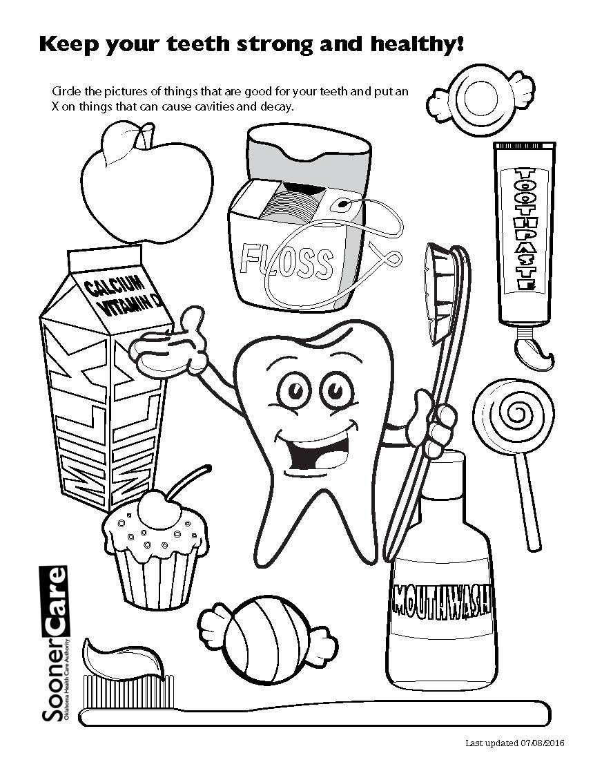 Tooth Coloring Pages Cartoon Tooth