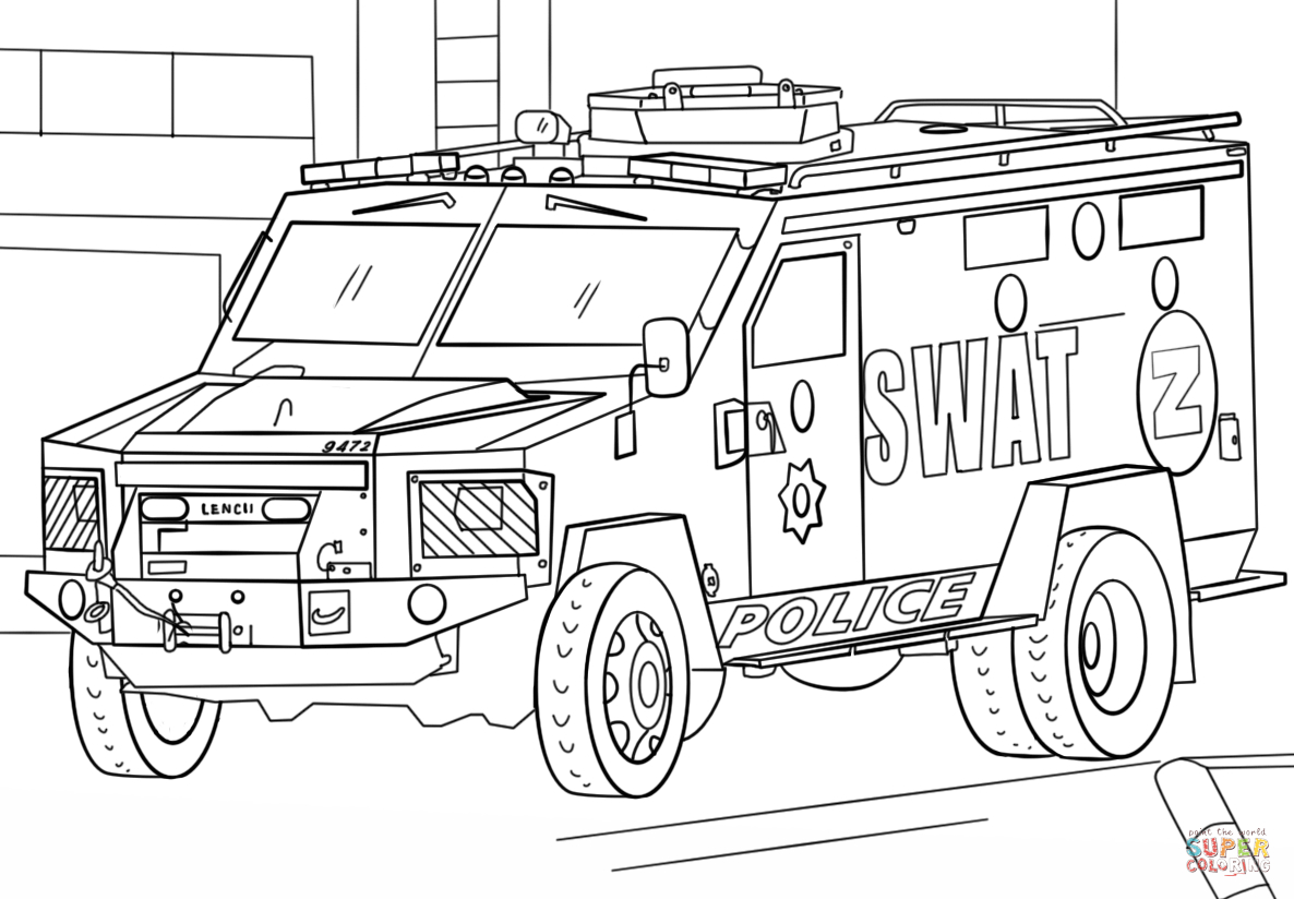 Truck Coloring Pages Swat Truck