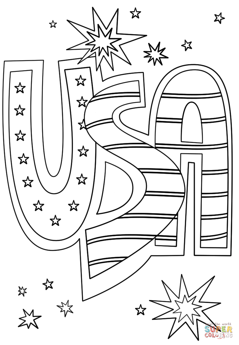 Usa Coloring Pages Usa Doodle Coloring
